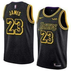 Los Angeles Lakers LeBron James Black City Jersey